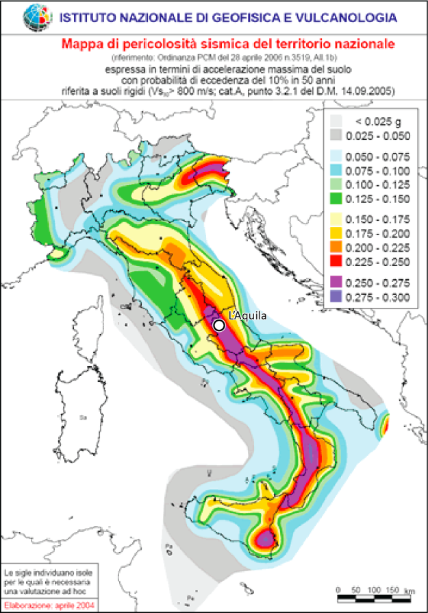 Earthquake Hazard Map for the Italian Peninsula, showing the peak ground acceleration with a 10% probability of being exceeded in 50 years. For reference, a ground acceleration of 0.001g is perceptible by people, at 0.02g people can lose their balance, and at 0.1g light property damage can be expected. Produced by the Italian National Institute of Geophysics and Volcanology, 2005.