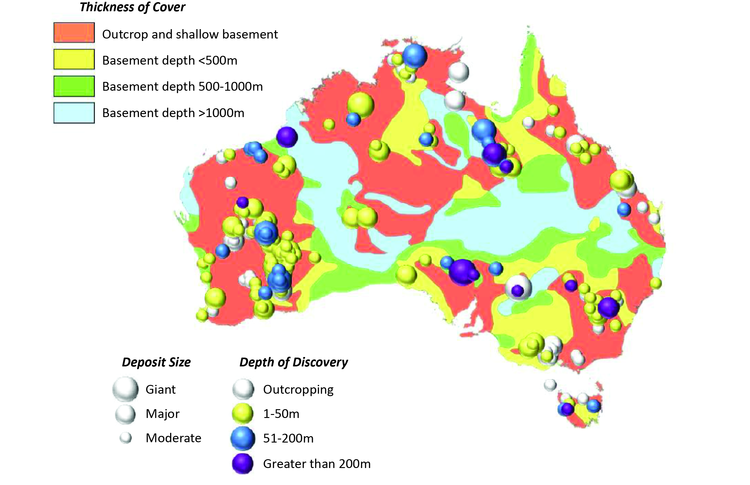 Geographical distribution and depth of Australian mineral discoveries –excluding bulk commodities - in relation to estimated cover thickness. Data sourced from MinExConsulting (August 2010) and Geoscience Australia. Reproduced with permission of Richard Schodde, MinEx Consulting.
