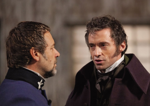 """Look Javert - I think the study debt thing is way out of line. Isn't it enough that our society's uncaring Economic Rationalist policies pushed her into prostitution and a pitiful early death?"" Still image taken from Tom Hooper's 2012 cinematic adaptation of Les Miserables."