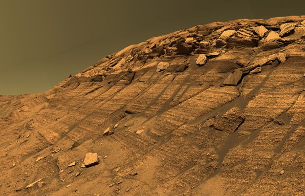 Approximate true-color mosaic image of Burns Cliff in Endurance Crater on Mars, captured by the NASA rover Opportunity. Proof that life once existed on the Red Planet's surface would assume huge significance to thinking about our place in the Universe by demonstrating that the creation of life is replicable, and our own existence is more than the outcome of a cosmic lottery of unimaginable unlikelihood.